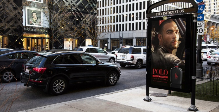 Foto: Digitale Video-Stele in Chicago; copyright: JCDecaux...