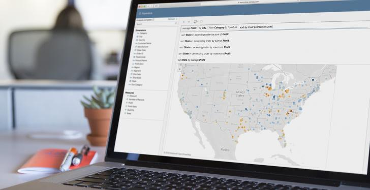 Tableau Ask Data on screen; Copyright: Tableau Software, Inc...
