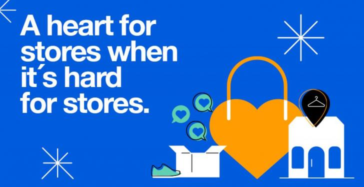 Grafik von Zalando mit Schriftzug: A heart for stores when it is hard for...